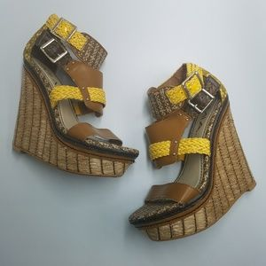 MIA Frida Yellow Straw Platform Wedge Sandals